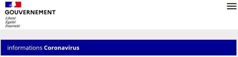 Le site officiel du gouvernement sur le COVID19