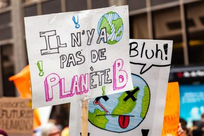 French banner during ecological protest